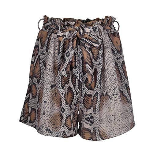 OIKAY Shorts Damen Mode Frauen Hohe Taille Schlange Druck Verband Sport Shorts Hosen Leggings Leggings Kurze Hose Damen(Kaffee,L)