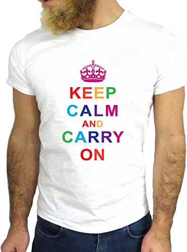 T SHIRT JODE Z3374 KEEP CALM AND CARRY ON RAINBOW COOL VINTAGE MULTICOLOR GGG24 BIANCA - WHITE