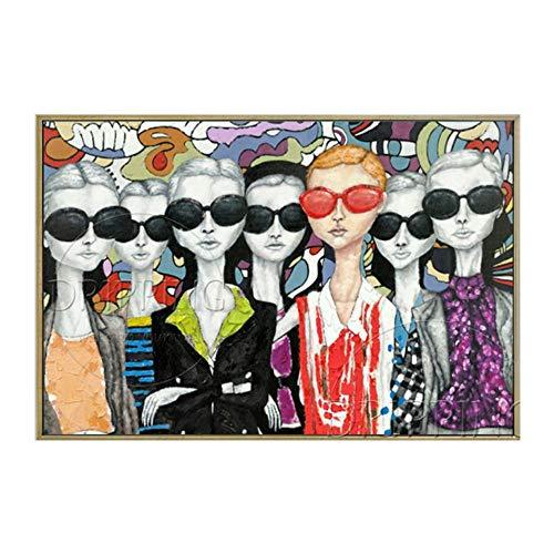 YDDFSGGFDSG Hochwertige handgemalte Moderne Dame Ölgemälde auf Leinwand Gesicht mit Brille Ölgemälde für Wanddekoration,180x200CM