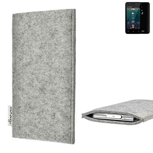 flat.design Handy Hülle Porto für Allview P42 maßgefertigte Handytasche Filz Tasche Schutz Case fair grau