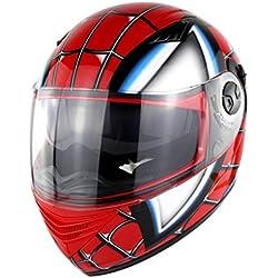 zyy Casco, Casco de Cara Completa Estilo Retro Halley Transformers Casco de carenado Moto Todo Terreno D.O.T Certificación Negro (Color : Red, Tamaño : L58-59cm)