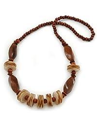 Collar de cuentas en nacarado arena y madera marrón cocoa