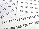 Clear 25mm Round Consecutive, Sequential Number Sequence Labels, Numbering Stickers, from 1-210