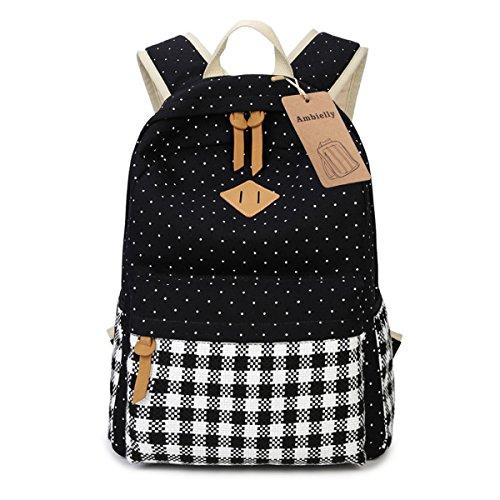 Imagen de ambielly estilo  escolares espesado bolsa de mano hombro del ordenador portátil  bolso causal  escolar negro 2