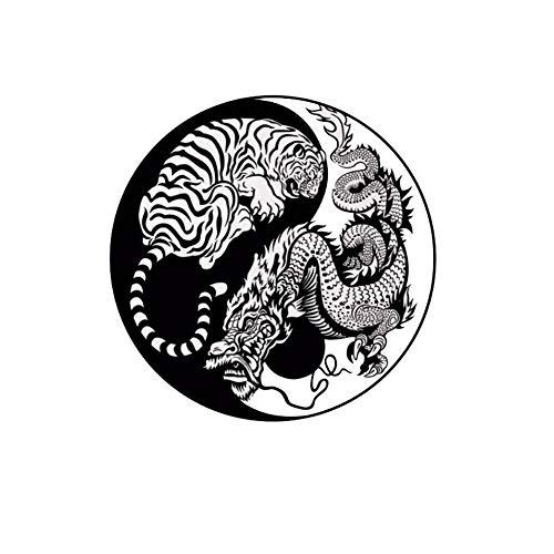 Rocita Papel Dragón Bestia Tigre Escala de energía de China Yin Yang Pared del Vinilo de Pared Creativo engomada del Arte desprendible de la Pared para el Dormitorio, Sala de Estar, habitación de