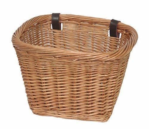 NEW! Delux, Heritage,Traditional Handmade, Rectangular, Wicker Bicycle Basket. Strengthened rim, extra length, leather straps. by Thyme & Season -