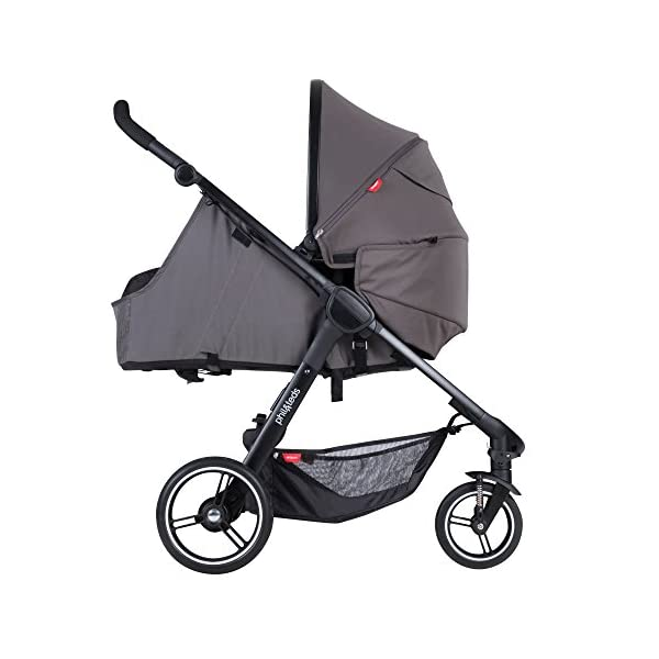 Phil&teds Smart Buggy Pushchair, Graphite phil&teds Foot fold - intuitive, compact, one-piece standing foot fold - a world's first of its kind - is only 23 Inch wide, making it perfect for tight city spaces ; A unique aerocore seat design that's soft and spongy for maximum comfort and is hypo-allergenic, ventilating, insulating, UV resistant, waterproof, non-toxic and simply wipes clean Smooth ride tires - super-smooth, hassle-free riding with 10 Inch rear puncture-proof, aerotech wheels and suspension on all four wheels; convenient hand-operated parking brake offers easy braking control at your fingertips Lightweight - stroller weighs 23.5 lbs. and includes a main, full-size seat that holds up to 44 lbs., an extendable leg and a sun hood with zip-out extension and silent peek-a-boo flap 10
