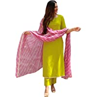 ANNI DESIGNER Women's Cotton Straight Kurta and Palazzos & Dupatta Set (Stylish LAHRIYA Green)
