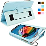 Snugg™ Galaxy Tab 3 7.0 Case - Smart Cover with Flip Stand & Lifetime Guarantee (Baby Blue Leather) for Galaxy Tab 3 7.0