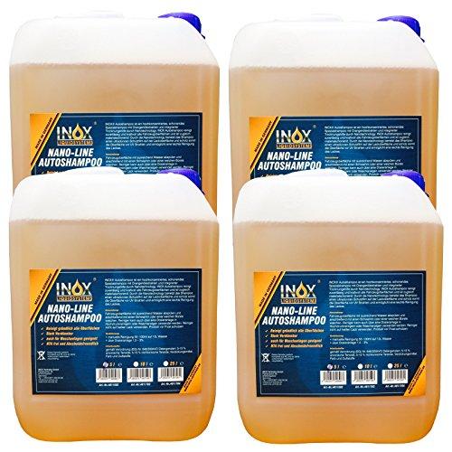 INOX® Nano Line Autoshampoo, hochwirksame Fahrzeug-Reinigung mit Abperleffekt - 4 x 5L