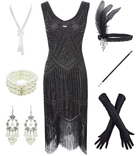 FUNDAISY 1920er Jahre Gatsby Pailletten Gef¨¹ttert Paisley Flapper Kleid mit 20er Jahre Zubeh?r Set (Jahren Flapper-girl 1920er)