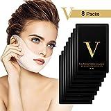 V Line Mask, HailiCare 8 Pcs 4D Doppio Viso V Appeso Orecchio Pasta Maschera Facciale Antirughe, Dimagrante e Idratante per Viso, Mento, Collo e Scollatura