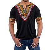 OVERDOSE Mode Männer Slim Fit V-Ausschnitt Afrikanischen Gedruckt Muskel T-Shirt Casual Tops Bluse Sommer Oberteile Hemd(Schwarz,EU-54/CN-2XL)