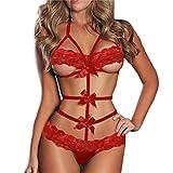 Babydoll Donna ,HOMEBABY Intimo Donna Halter Lingerie Tuta Raso Tentazione Bowknot Intimo Natale Vestito Completino Intimo-G-String indumenti da notte Nodo della farfalla (M, rosso)