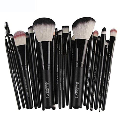 GJKK 22pcs Premium Pinselhaare Profi Kosmetik Make-up Pinsel Rouge Lidschatten Pinsel Set Kit Blending Pinsel Kosmetikpinsel Set Bürste Schminkpinsel Geschenke für Damen (Schwarz) -