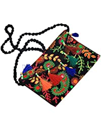 Kuber Industries™ Girls Traditional Embroidery Dandiya Work Sling Bag With Flap(Black) - BG84