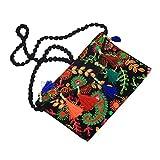 Kuber Industries™ Girls Traditional Embroidery Dandiya Work Sling Bag with Flap(Black) - BG84