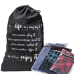 Sac à linge conçu Matériau très résistant avec cordon de serrage et bandoulière–Combiné avec filet 3/sacs de lavage pour lingerie/sous-vêtements–Idéal pour collège Service de buanderie et de stockage de ménage