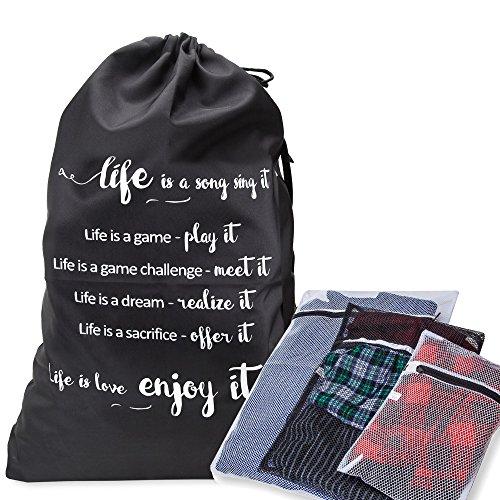 Road Duffle (Entworfen Wäschesack schwere Pflicht Material mit Kordelzug und Schultergurt, kombiniert mit 3Mesh/Wash Taschen für Dessous/Unterwäsche–Perfekt für College Waschsalon und Haushalt Aufbewahrung)