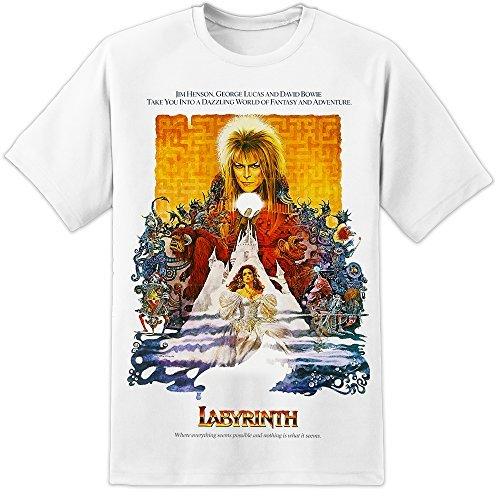 Laberinto Póster de la película T Shirt (S-3X L) David Bowie Jim Henson Oscuro Cristal Blanco Blanco XX-Large