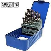 S&R Juego de brocas para metal Set 1-13mm 118 °, Caja con 25 Brocas Rectificadas, serie GM DIN 338, HSS - acero, metal. Calidad profesional