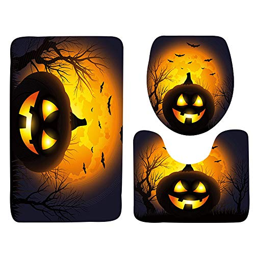 VEMOW Heißer Halloween Schwarze Katze WC Sitzbezug und Teppich Badezimmer Set Halloween Decor(A, 45cmX37.5cm(Tankdeckel)) (Mickey Halloween-film)
