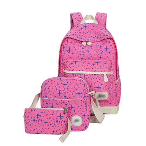 Sentao Retro Schulrucksack Canvas Mädchen/Damen Schul Rucksack Set Schulranzen + Schultertasche / Messenger Bag + Purse Große 3PCS Pink