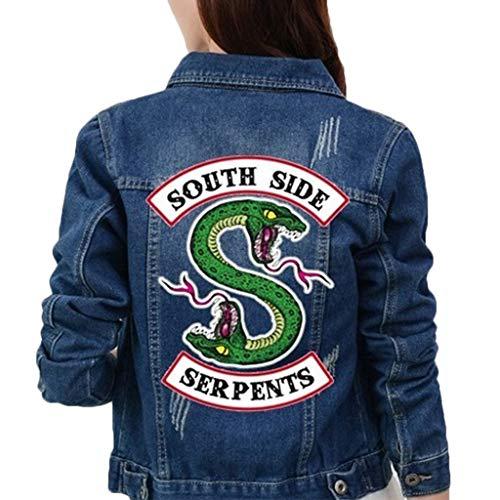 Riverdale Southside Serpents Jacke Damen, Teenager Mädchen Slim Fit Denim Jacket Coole Bauchfreier Jeansjacke Kurz Winterjacke Pullover Sweatshirt Jäckchen Crop Tops Mantel Pulli (Blau, XXL)