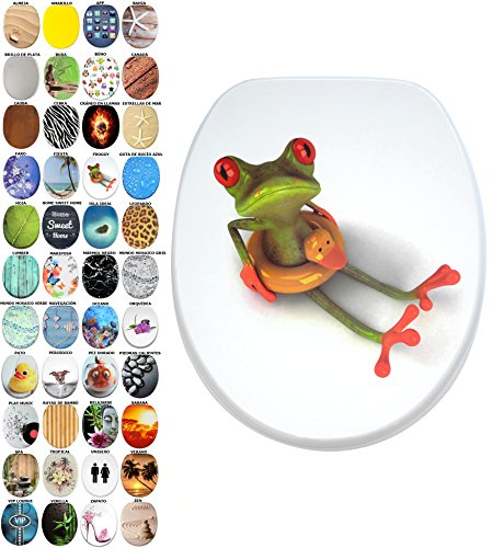 Asiento para inodoro de cierre suave, gran selección de atractivos asientos de inodoro con calidad superior y duradera de madera (Froggy)