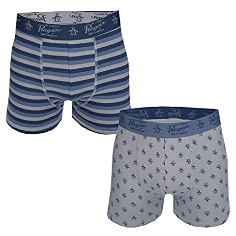 Mens Original Penguin Mens Striped 2 Pack Boxer Shorts in Blue - L