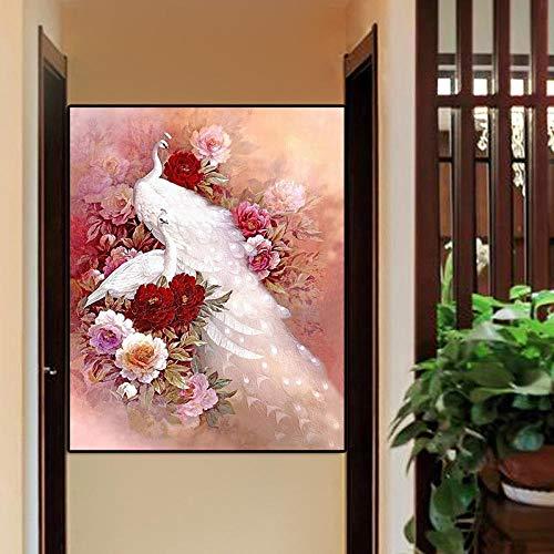 JIAORLEI DiamantzeichnungDiamond Painting_Animal Series White Peacock Schlafzimmer Wohnzimmer voller Diamanten @ 30x40