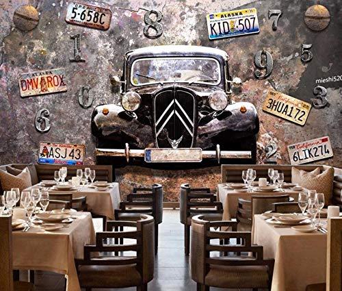 Rost Oldtimer Nummernschild Hintergrund Wand Tapete Restaurant Bar dekorative Wandgemälde, 300 * 210cm