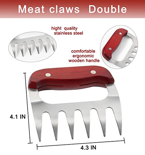 516VvWG 7GL - POLIGO 9-teiliges Grill-Grill-Zubehör für den Grill Grill-Set - Spatel, Fleischklauen, Würze Flaschen, Fleisch-Injektor und ein praktisches Design Gürteltasche für die Lagerung - Ideal für das Kochen im Freien