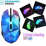 Wired Mouse, Luversco coloré The Diamond Version du Illusion Modao 3200DPI souris filaire avec 7 circulaire