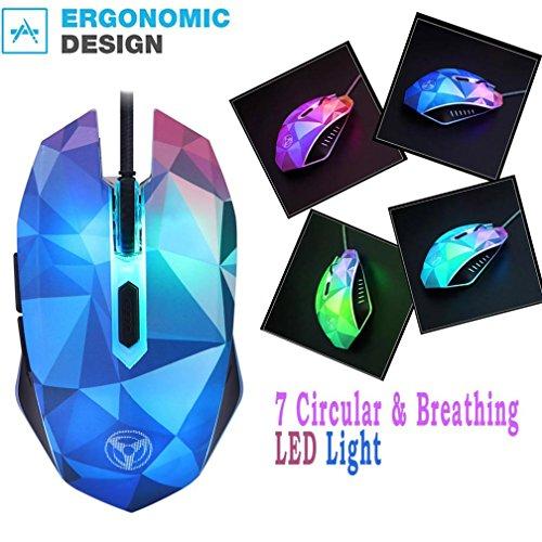 luversco bunt der Diamant Version der Illusion, modao Lasermaus Wired Maus mit 7Zirkular (Ratte Ohren Kostüm)