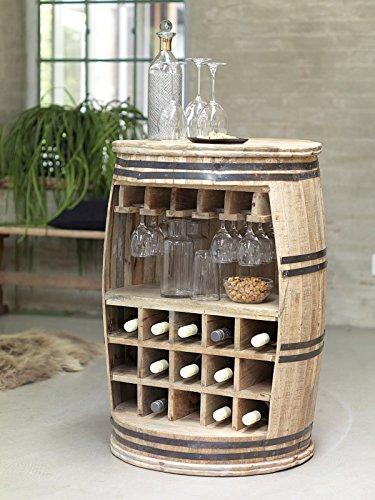 Canett Furniture Crazy Weinfass Weinregal Aus Holz Flaschenregal Fass Tisch/Bartisch/Theke, Holz, Natur, Geölt, 65 x 65 x 90 cm