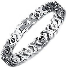 University Trendz 18 k white gold plated Titanium and stainless steel Health care bio energy bracelet