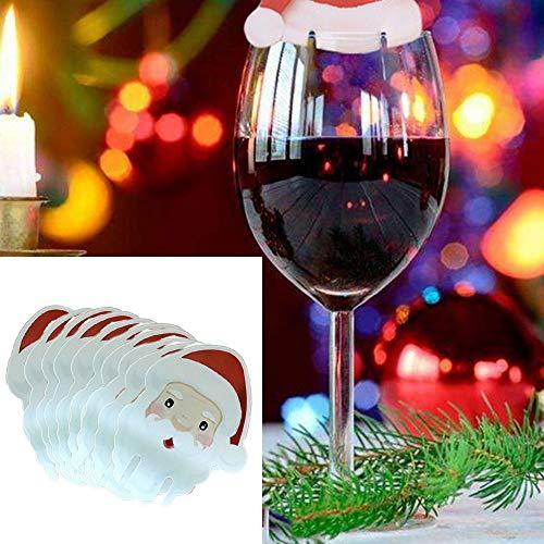 Zolimx 10 pz natale santa claus hat tazza del vino rosso carta natale cappello cup carta decorazione natale segno della tazza di vino