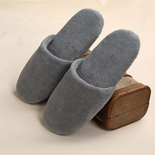 Lxj-ld ultra molle spa pantofole, punta chiusa a cinque stelle hotel a gettare pantofole ispessimento morbidezza portatile fondo corallo del panno slippers- 10 paia,grigio