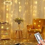 Opard LED Lichtervorhang300LEDs, Lichterkettenvorhang 3M*3M IP65 Wasserfest 8 Modi Lichterkette Warmweiß für Party Schlafzimmer Innen und außen Deko