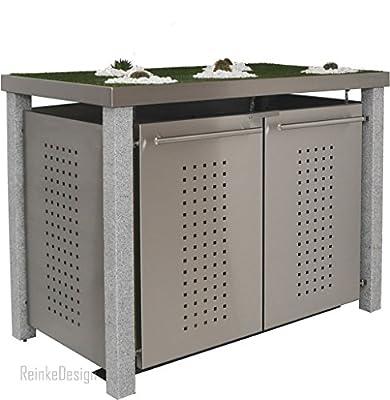 Reinkedesign Mülltonnenbox mit Granitpfosten & Pflanzenwanne 2x240L von reinkedesign GmbH bei Du und dein Garten