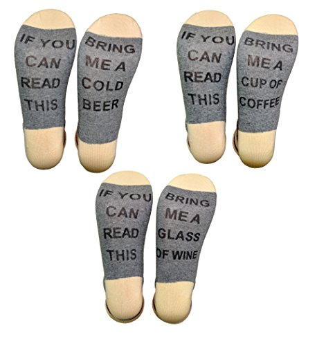 df4931424861 HapiLeap 3 Pairs IF YOU CAN READ THIS Wine Socks - Novelty Funny ...