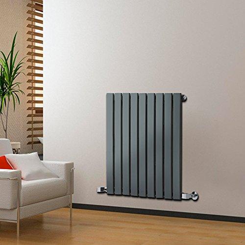 Hudson reed delta radiatore termoarredo di design orizzontale moderno - termosifone con finitura in antracite - pannelli piatti - 635 x 630mm - 563 watt - riscaldamento lussuoso