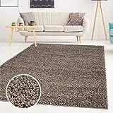 Shaggy-Teppich, Flauschiger Hochflor Wohn-Teppich, Einfarbig/Uni in Mocca für Wohnzimmer, Schlafzimmmer, Kinderzimmer, Esszimmer, Größe: Läufer 80 x 300 cm