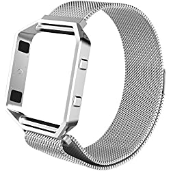 Fintie Fitbit Blaze Bracelet - en Acier Inoxydable Sport Poignet en métal Replacement Bracelet avec Cadre pour Fitbit Blaze Smart Watch, Agrent