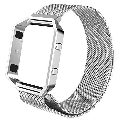 Fintie Armband mit Rahmen für Fitbit Blaze, Milanese verstellbares Edelstahl-Ersatzarmband (15-26cm) mit Metallrahmen Gehäuse für Fitbit Blaze Smart Fitness Watch, Silber