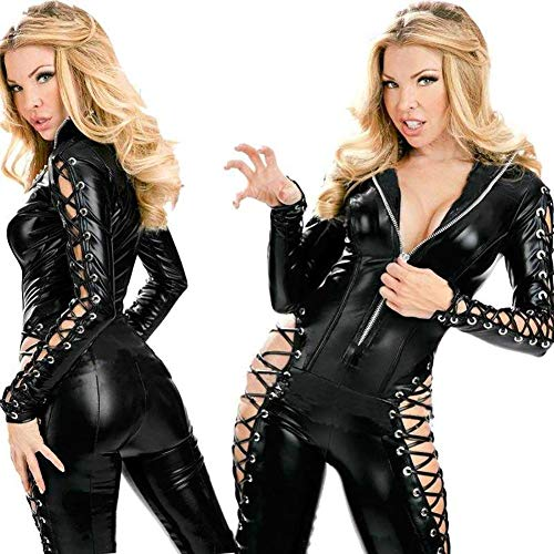 ACZZ Kunstleder Kleid Erotik Latex Catsuit Verband Sex Produkt Stripper Pvc Body Frauen Kleid Fetisch Rollenspiel Lehrer - Kostüm Für Tanz Lehrer