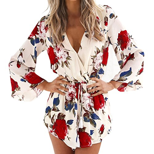 Eleery Women Summer Long Sleeve Chiffon Short Jumpsuit Sexy Summer Autumn V Neck Floral Print Elastic Waist Rompers Bodysuit (UK 14, Floral Print)