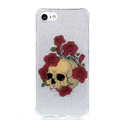iPhone 8 Hülle, Voguecase Silikon Schutzhülle / Case / Cover / Hülle / TPU Gel Skin für Apple iPhone 8 4.7(Rot Fuchs 02) + Gratis Universal Eingabestift Blume Weißer Leopard 01