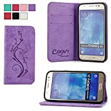 COOVY® PREMIUM DESIGNER CASE SLEEVE BAG WALLET COVER PROTECTOR with card holder, magnet closure and standing capability FOR Samsung Galaxy J5 with SCREEN PROTECTOR color purple design Flower
